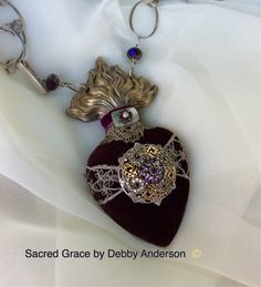 Sacred Grace © by Debby Anderson Velvet, Lace, Topaz, Amethyst, Brass and Sterling = Regal