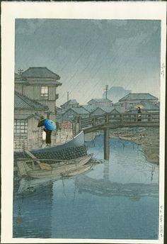 Rain at Shinagawa by Hasui Kawase