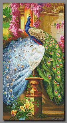 Peacocks in the garden. Modern Embroidery, Beaded Embroidery, Embroidery Patterns, Hand Embroidery, Cross Stitch Gallery, Cross Stitch Designs, Cross Stitch Patterns, Peacock Wall Art, Peacock Painting