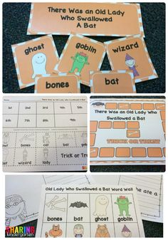 There Was an Old Lady Who Swallowed a Bat printable kindergarten lesson plan pack perfect for Halloween theme