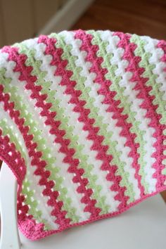 Crocheted Baby Blanket Granny Stripe Baby by DaisyCottageDesigns, $48.00