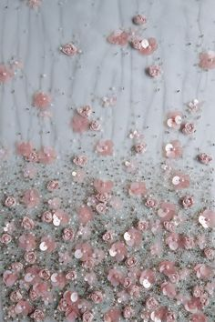 Haute Couture fabric | Hand embroidered ribbon and sequin flowers on tule