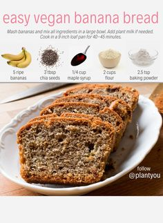 Which of these vegan recipes looks best to you? - Banana bread Avocado toast Easy vegan sushi Peanut butter smoothie crisp smoothie - Comment your favorite below! Best Banana Bread, Banana Bread Recipes, Easy Vegan Banana Bread, Healthy Banana Pancakes, Oat Flour Banana Bread, Easy Vegan Breakfast, Low Calorie Banana Bread, Vegan Banana Pudding, Dairy Free Banana Bread