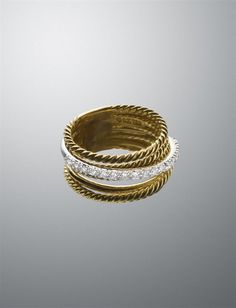 18-karat yellow gold ring with Cable and pave diamonds David Yurman