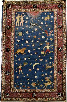 "Persian Kerman ""zodiac"" rug, early 20th"