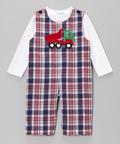 Take a look at this White Tee & Blue Plaid Truck Overalls - Infant & Toddler by Monday's Child on #zulily today!