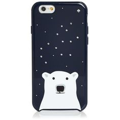 kate spade new york Sparkle Polar Bear iPhone 6 Case found on Polyvore featuring accessories, tech accessories, rich navy and kate spade