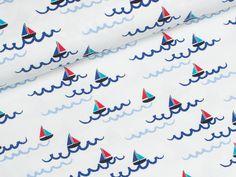 Jersey Single - Boote - maritim - weiß - blau