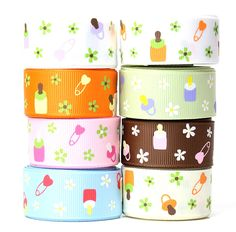 Accufashion 7/8' 8 colors 40Yds (8×5yds) Baby Bottles and Pacifiers Grosgrain Ribbon Combo >>> You can get more details by clicking on the image.
