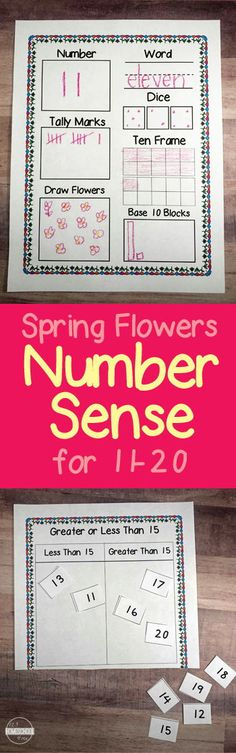 FREE Spring Number Sense - fun free printable worksheets for preschool and kindergarten age kids to practice numbers 0-20 including cut and paste, drawing, ten frame, tally mark, dice, and so much more. perfect spring worksheet for math center, seat work, homework and more