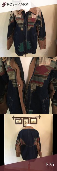 Vintage Weathered Blues jean jacket. Blue jean jacket with snap and zipper closing.  Bottom snap is broken.  Inside is lined with flannel.  It's a medium but fits loosely. Jackets & Coats Jean Jackets