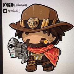 Busy week, day job here and freelance there.  Here's Tiny #McCree #Overwatch #blizzardentertainment #videogame