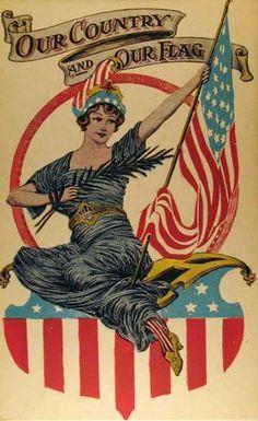 Vintage Lady Liberty US Patriotic Postcard Vintage Cards, Vintage Images, American Flag, American History, Patriotic Images, Patriotic Posters, Star Spangled Banner, Patriotic Decorations, Old Glory