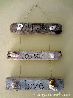 6 diy driftwood craft ideas!  @thespacebetweenblog. 11Nov live laugh love driftwood