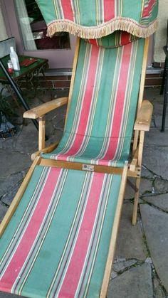 VINTAGE RETRO CLASSICAL OCEAN STRIPE DECK CHAIR WITH ROOF CANOPY