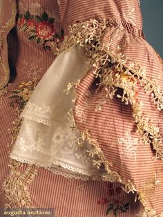 ROSE SILK SACK-BACK OPEN ROBE, 1770-1785, Augusta Auctions Detail Sleeves with Fly Fringe trimmings