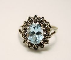 Blue topaz and marcasite ring.  Sterling by chicvintageboutique