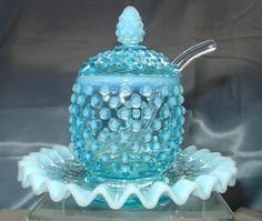 "Jam- VINTAGE~40s""FENTON GLASS""BLUE""OPALESCENT""HOBNAI"