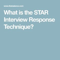star interviewing response technique
