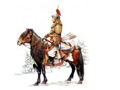 Fully armed and mounted Mongol Tatar warrior Military Art, Military History, Ancient Art, Ancient History, Horse Bow, Vikings, Mounted Archery, Age Of Empires, Asian History