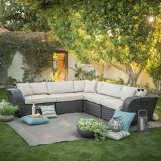 Belham Living Cordova All Weather Wicker Sectional Set - Seats 5 - Conversation Patio Sets at Hayneedle