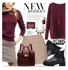 """""""Yoins Burgundy Jumper"""" by fattie-zara ❤ liked on Polyvore featuring Acne Studios, Mulberry, NARS Cosmetics, Christian Dior, women's clothing, women, female, woman, misses and juniors"""