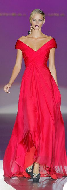 Hannibal Laguna Spring/Summer 2013.  LOVE the Dress. HATE the Shoes.   I normally LOVE the Color Purple but sooo not getting how Purple Lipstick goes w/a Red Dress & Black Shoes????