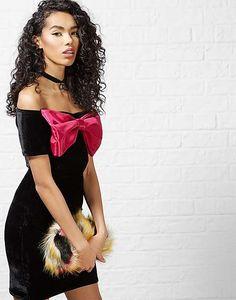 #ARKLOVES this 90s inspired mega babe dress. Crushed velvet. An oversized bow. YAAAASSSSSSSSSSS  The Ragged Priest Bowdacious Mini Dress