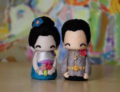 wedding cake topper-Cambodian cutie couple 20120814   Www.yuyuart.etsy.com for custom order