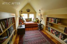 Victorian farmhouse attic finished-reading nook...I would love to curl up with a good book in this space!