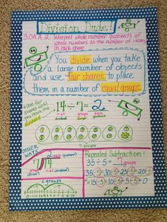 Intro to division anchor chart! Division Anchor Chart, Math Division, Long Division, Kindergarten Anchor Charts, Math Anchor Charts, Classroom Charts, Math Classroom, Classroom Ideas, Third Grade Math
