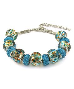 Another great find on #zulily! Blue Swarovski® Crystal & Murano Glass Beaded Charm Bracelet #zulilyfinds