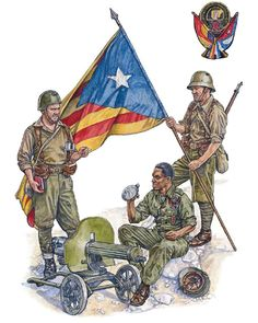 """""""Republican Forces - Foreign Volunteers & Army of Catalonia: Military Gear, Military History, Military Uniforms, Spanish War, Aircraft Painting, Guernica, Historical Art, Poster On, World War Ii"""