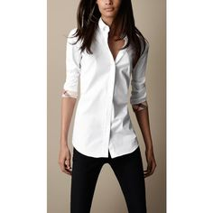 Burberry Slim Fit Check Cuff Shirt ($225) ❤ liked on Polyvore