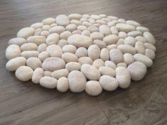 Felt stone rug wool super soft 3D shades of white by flussdesign