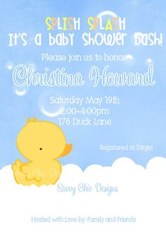 Baby Shower Rubber Duck Invitation DIY by CreatewithSavvyChic, $13.00
