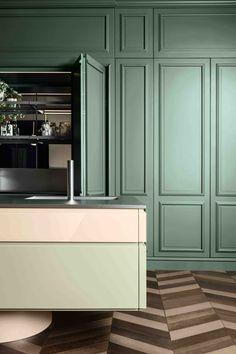 Small Apartment Design, Apartment Interior, Interior Design Guide, Hidden Kitchen, Interior Exterior, Inspired Homes, Home Decor Styles, Home Kitchens, Kitchen Remodel