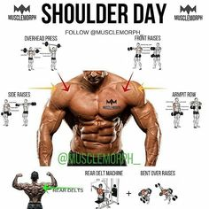 Muscle Training: shoulder day shoulder exercise shoulder training m. Fitness Workouts, Weight Training Workouts, Gym Workout Tips, Fitness Tips, Free Workout, Training Exercises, Gym Fitness, Best Shoulder Workout, Good Shoulder Exercises