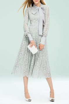 Bow Collar Pleated Lace Dress