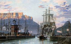 "John Stobart 'Cape Town: The Bark ""William Hales"" Towing Out of Port in limited edition print showing the American bark, WILLIAM HALES. South African Art, Cape Town South Africa, Making Water, Table Mountain, Historical Pictures, Tall Ships, African History, Old Photos, Vintage Photos"