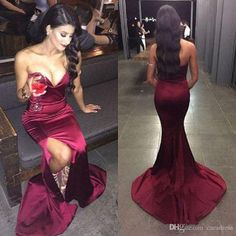 Cheap Sexy Burgundy Mermaid Evening Dresses 2017 Plus Size Formal Occasion Wear Sweetheart Side Split Prom Party Gowns Long Sweep Train Elegant Dresses Evening Gown From Caradress, $97.49| Dhgate.Com