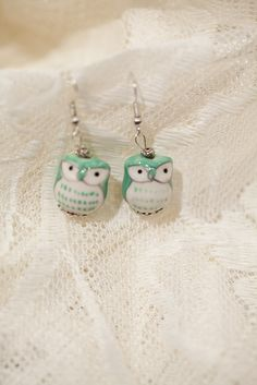 Green Ceramic Owl Earrings