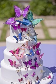 this is a bridal shower cake, but love this cake for a butterfly theme party. Butterfly Wedding Cake, Butterfly Birthday Cakes, Butterfly Birthday Party, Diy Birthday Cake, Butterfly Cakes, Sweet 16 Birthday, Birthday Parties, Girl Birthday, Butterflies