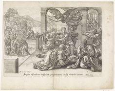 Anonymous   Vertrek van de engel Rafaël, Anonymous, Claes Jansz. Visscher (II), 1585   De engel Rafaël maakt zich bekend aan Tobit, Anna, Tobias en Sara. Zij knielen op de grond. Tobit is teruggekeerd naar huis en wordt links ontvangen door zijn ouders Tobit en Anna. Nog verder op de achtergrond de ontvangst van Tobias' vrouw Sara. Rechts in het huis de genezing van Tobit.  Onder de voorstelling een verwijzing in het Latijn naar de Bijbeltekst in Tobit 12:4.