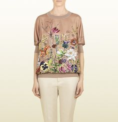 Gucci pink tan flora dégradé print knit top  Our delicate flora dégradé print meets contemporary cool lines in this easy silk-cashmere blend knit. Pair with jeans for downtown cool, or dress it up with a fitted skirt.