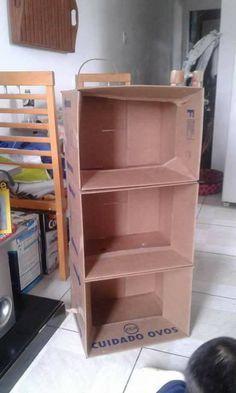 with cardboard cartons and spray paint it wgitr Cardboard Box Storage, Diy Cardboard Furniture, Cardboard Box Crafts, Diy Storage Boxes, Diy Furniture, Cardboard Cartons, Diy Home Crafts, Decor Crafts, Diy Home Decor