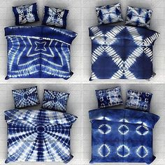 Item - 5 Set Of Tie Dye Shibori Duvet Cover. Beautiful Indian Cotton Stripe Tie Dye Shibori Duvet Cover or Quilt Cover in Queen size with pillow covers. An exclusive Duvet Cover A fascinating Comforter Cover. Tie Dye Bedding, Textile Dyeing, Boutique Deco, Shibori Tie Dye, Japanese Textiles, Indigo Dye, Home And Deco, How To Dye Fabric, Tye Dye