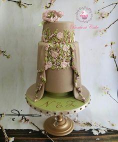 Beige engagment cake