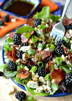 Blackberry, Bacon & Blue Cheese Salad with a Honey Balsamic Vinaigrette - made with Botticelli Extra Virgin Olive Oil & Balsamic Vinegar