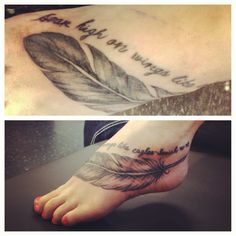 Foot Tattoo Eagle Feather Isaiah 40:31 Hope Lord Renew Strength Wings Eagles Feathers Tattoos Feet Bible Verse Soar High On Wings Like Eagles